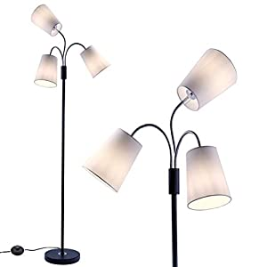 Adjustable Modern Floor Lamp by Lightaccents – Multi Head Standing Lamp Bedroom Light with 5 Positionable Multicolor Acrylic Reading Shades Room Light (Grey)