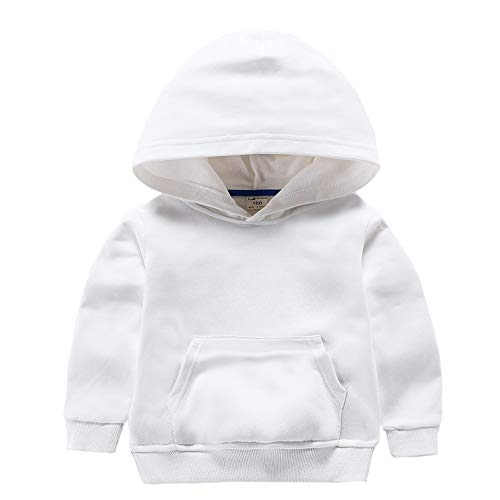 Infant Pullover - ALALIMINI Boys&Girls Hoodies Cotton Sweatshirt Pullover Sweats Unisex Toddler Kids Hood with Big Pocket 2T 3T 4 5 White 90CM/2T