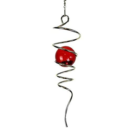 "FONMY Gazing Ball Stainless Steel Spiral Tail-Decorative Wind Spinner, with Hanging Swivel Hook, Indoor Outdoor Decoration Silver Red -11"" inch"
