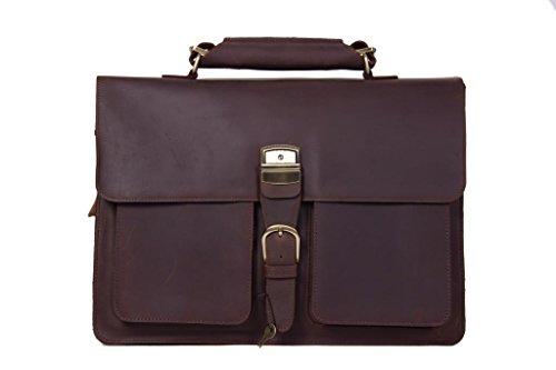 ROCKCOW Crazy-Horse Leather Briefcase Lock Key Designer Inspired Messenger Bag Handbag Fit 15 Inch Laptop