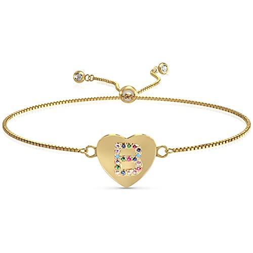 UHIBROS Heart Initial Bracelet for Women, 14K Gold Plated Love Heart Charm Monogram Bracelet , Dainty A to Z Letter Initial Bracelet for Teen Girls-B