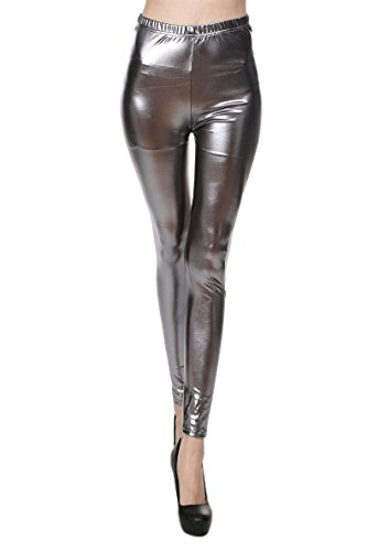 Diamond keep it Liquid Wet Look Shiny Metallic Stretch Leggings (XL, Silver Gray)
