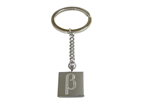 Silver Toned Etched Greek Letter Beta Pendant Keychain