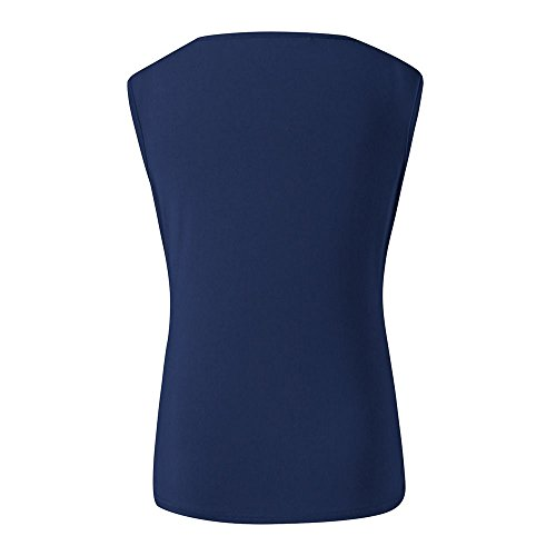 Tank Tops for Women BXzhiri Casual Fashion Sleeveless V-Neck Pleated Pure Color Casual Slim Tops Blouse T-Shirt Blue by Bxzhiri_Women Tops (Image #2)