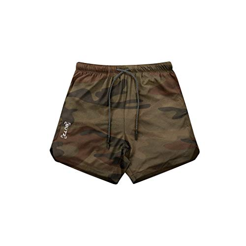 (LUCAMORE Five Pants Men's Sports Breathable Casual Fitness Shorts Men's Running Mountaineering Training Shorts Light Camouflage)