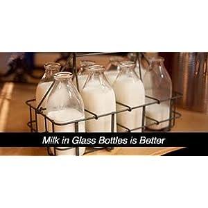 The Dairy Shoppe 2 Qt Heavy Glass Milk Bottle with Handle & Cap, 64 oz, 1/2 gallon