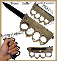 "U.S.1918 Trench Knife Buckle Action Assisted Folding Knife""Gold""This item cannot ship to CA, MA, NY, DE, Outdoor Stuffs"