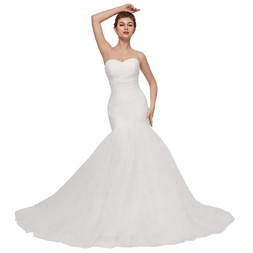LCRS Women's Strapless Sweetheart Wedding Dresses Long Tulle Mermaid Trumpet Bridal Gowns 24Plus White (Strapless Trumpet)