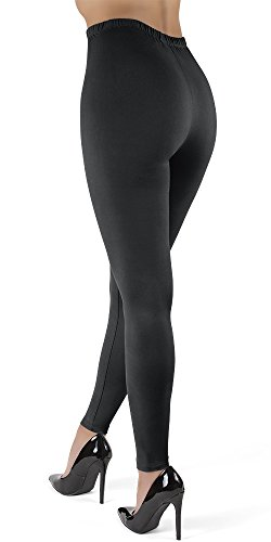 Satina High Waisted Leggings Women | New Full Length w/Stretch Waistband | Ultra Soft Opaque Non See Through (OneSize, Black) by Sejora (Image #2)'