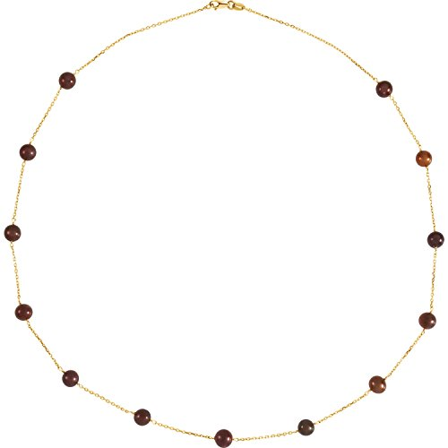 Freshwater Cultured Pearl Chocolate Dyed - 14K Yellow Gold Hypoallergenic 18 Inches Necklace for Women