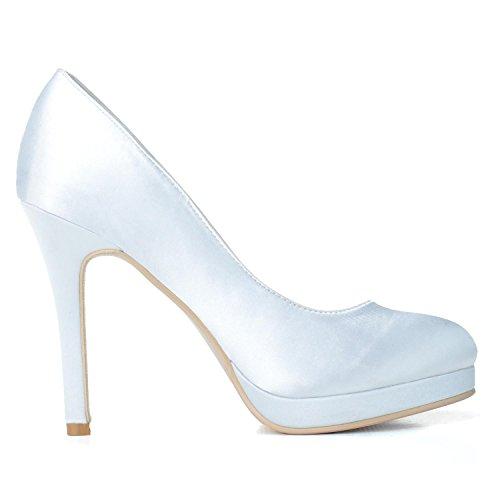 900 In Da Yc Bianco Stiletto P Donne Sposa Delle Prom L Scarpe 02 Partito Raso Piattaforma Partito U1wqFw8x