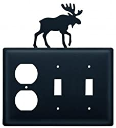 Eoss-19 Moose Single Outlet Double Switch Electric Wall Plate With Silhouette