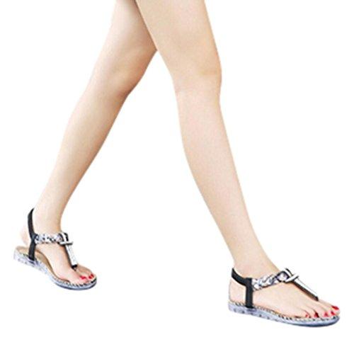 FEITONG Mujer Bohe Rhinestone Moda Plano Talla grande Sandalias Casual Playa Zapatos Negro