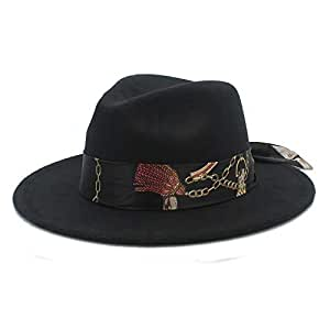 2019 Women Men Women Soft Hat, Ribbon Chain Print Fedora Hat Wool Blend Hat Outdoor Casual Hat Top Jazz Hat European American Hat Panama Hat (Color : Black, Size : 56-58CM)