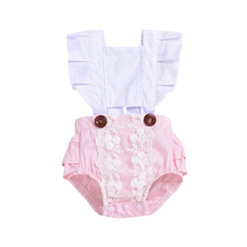 Toddler Infant Baby Girls Outfit Set Fly Sleeve Ruffles Ribbons Dot Romper Bodysuit Clothes White