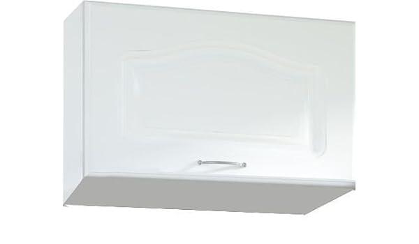 Mueble alto de cocina estilo contemporáneo 60 cm para campana con 1 puerta, horizontal, color blanco: Amazon.es: Hogar