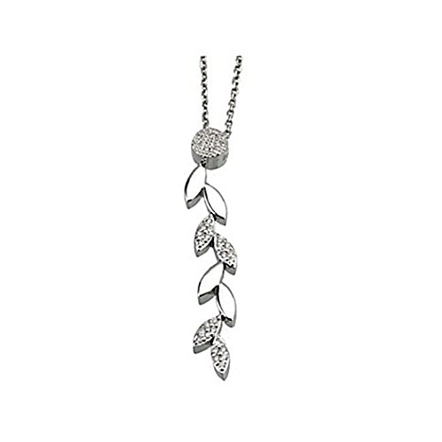 Pendentif 0,112ct lumineuses blanches feuilles collier en or de 18k [5903]