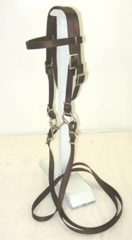Complete Bridle - Party Ponies Miniature Horse/Small Complete Pony Nylon Bridle with BIT Brown