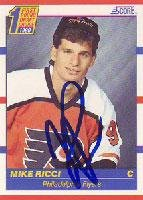 (Mike Ricci Philadelphia Flyers 1990 Score #1 Draft Pick Autographed Card - Rookie Card. This item comes with a certificate of authenticity from Autograph-Sports. Autographed)