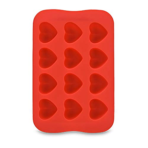 Bessyn Multifunction Silicone Ice Cube Trays Geometry Heart Shape 12 Cubes Mold BPA Free for Home Kitchen DIY Mold Tools Cake Chocolate Ice Cubes Jelly Pudding,Party Bar Whiskey Cocktail Smoothie (A)