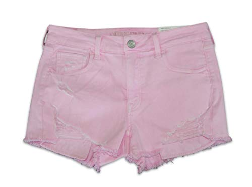 American Eagle Women's AE Pink Denim Super Stretch X High Waisted Shortie Shorts (8)