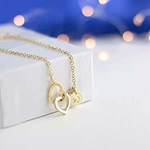 Personalize Initial Two Hearts Bracelet /16k Gold White Gold Rose Gold Plated/Dainty/Birthday Chirstmas Bridesmaids 12