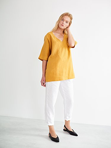 FLORENCE V-Neck Tunic Top in Mustard Oversized Short Sleeve Summer Blouse Relaxed Loose Fit V-Neck by Love and Confuse