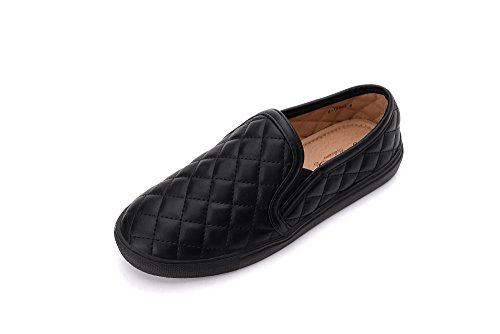 Mila Lady (Wanda Women Canvas Fierce Quilt Pattern Slip On Fashion Sneakers, Black - Quilt Leather