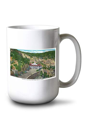 (Lantern Press Manitou Springs, Colorado - View of The Cave of The Winds Entrance (15oz White Ceramic)