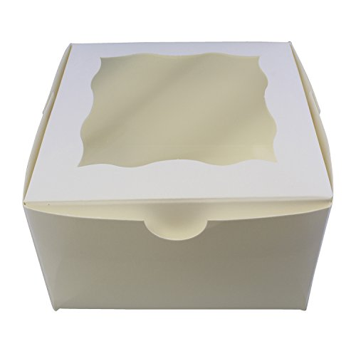 "Special T White Bakery Boxes with Window, 25pk – 4"" x 4"" Inch Cake Boxes, Party Favor Boxes, Candy Boxes, Dessert Boxes"