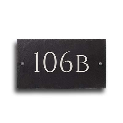 Placa de pizarra con número de casa y nombre de calle, 18 x ...