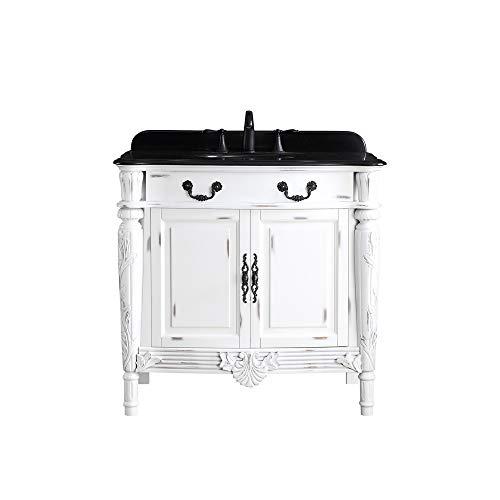Ove Decors Lynton 36 Antique White Single Sink Vanity with Black Granite Top (Black Granite Vanity Top)
