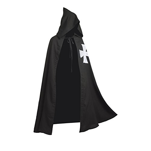 BLESSUME Meidieval Knights Hospitaller Cloak Black LARP Cape with White Cross (Templar Cloak)