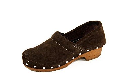 SilferShoes - Zoccolo in vero legno e vera pelle scamosciata, colore marrone