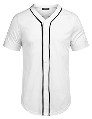 COOFANDY Men's Mens Baseball Button Down Team Jersey Hipster Hip Hop T Shirts White