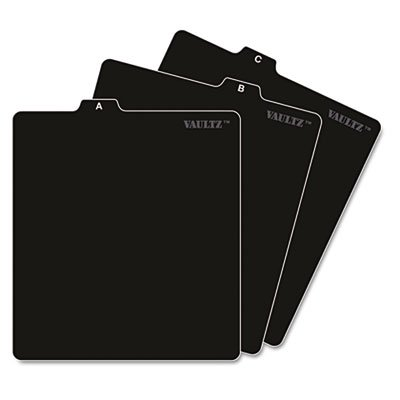 A-Z CD File Guides, 5 x 5 3/4, Black, Sold as 2 Each -
