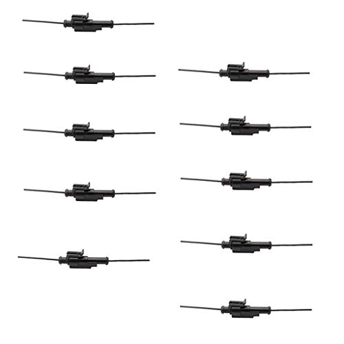 F Fityle 10 Kits 1 Pin Way 10 AWG Waterproof Connector Wire Series Terminal Connector Black: