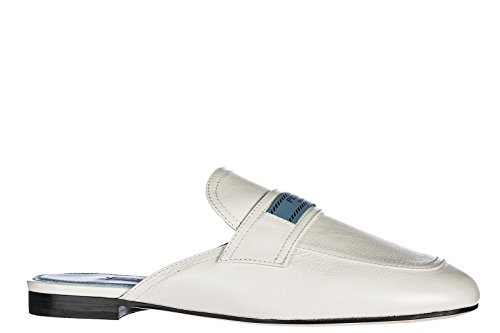 Prada Véritable Cuir Pantoufles Sandales Blanc