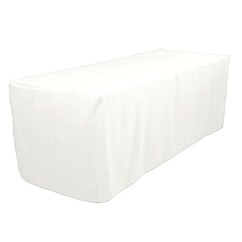 Tablecloth 8' Ft. Fitted Polyester Tablecloth Trade Show Booths Weddings Table Cover White