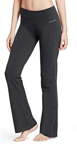 BALEAF Womens Bootcut Regular//Tall High Waisted Yoga Pants Bootleg Indoor Cotton Pants