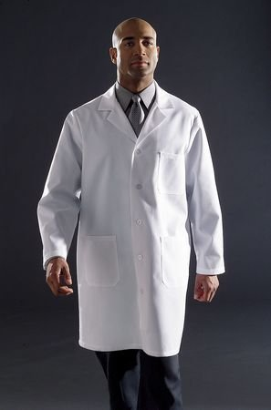 Collared Lab Coat, XL, 39In Long, White