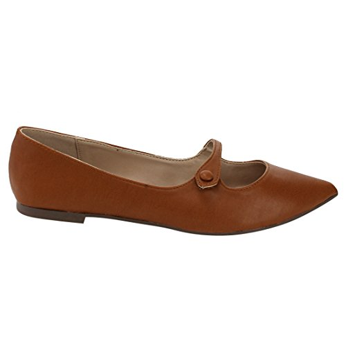 Breckelles Pointy Toe Ballet Flat - Mary Jane Flat - Slip on Flat - GI91 by Tan Leatherette MLtwG