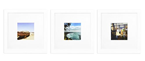 Golden State Art Smartphone Instagram Frames Collection, Set of 3, 8x8-inch Square Photo Wood Frames with White Photo Mat & Real Glass for 4x4 photo, White (Square Wall Collection)