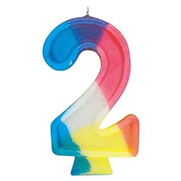 Número 2 del arco iris vela del cumpleaños: Amazon.es ...