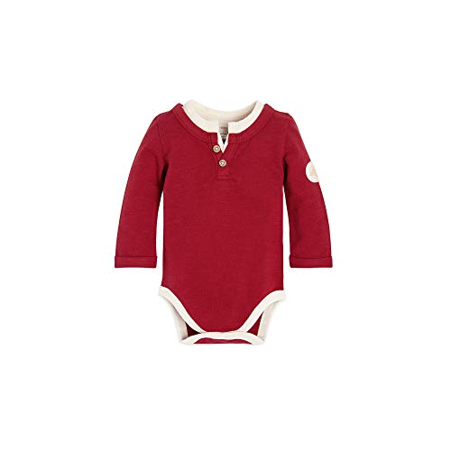 Baby Henley - Burt's Bees Baby Baby Boys, Short Long Sleeve One-Piece Bodysuits, 100% Organic Cotton, Cranberry Henley, 12 Months