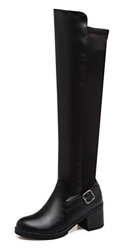 Bottes Femmes Fait Fermeture Noir Givré Talon Un Petit Ageemi Ont Solides De Fermé Bout À Chaussures gwRnqaOw