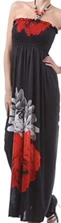 FOBlkTwoFlower76A-7931 Two Flowers on Solid Black Graphic Print Beaded Halter Smocked Bodice Long / Maxi Dress - Red / Large