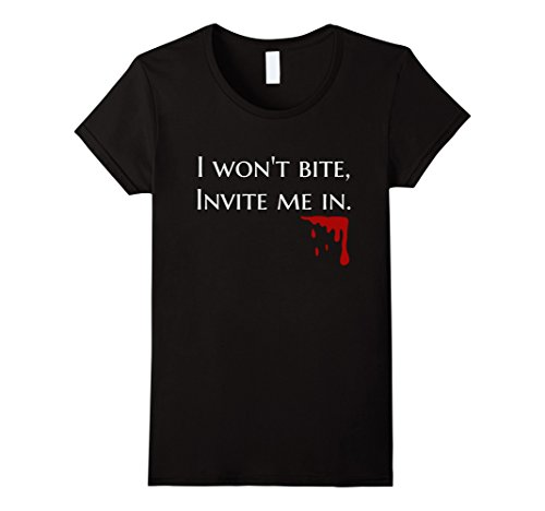 Vampire Slayer Halloween Costumes (Womens I Won't Bite, Invite Me In Vampire Shirt Large Black)