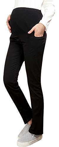 Foucome Women's Over Belly Relaxed Fit All Day Maternity Straight Leg Chino Pants – Extender Waistband