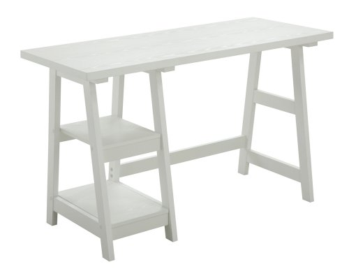 White Student Desk - Convenience Concepts Designs2Go Trestle Desk, White